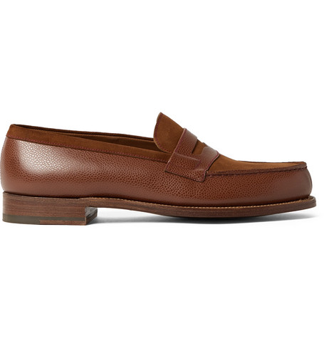 J.m. Weston 180 The Moccasin Full-grain Leather And Suede Penny Loafers In Brown