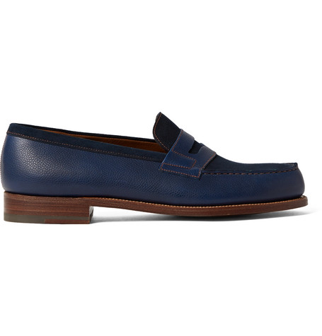 J.m. Weston 180 The Moccasin Full-grain Leather And Suede Penny Loafers In Blue
