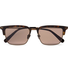 Brioni D-Frame Tortoiseshell Acetate and Bronze-Tone Sunglasses