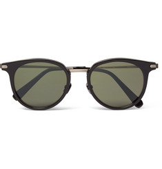 Brioni Round-Frame Acetate and Gunmetal-Tone Sunglasses