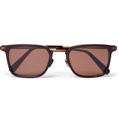Brioni Square-Frame Acetate and Bronze-Tone Sunglasses