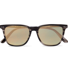 Bottega Veneta Square-Frame Acetate and Gunmetal-Tone Mirrored Sunglasses