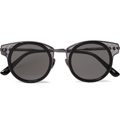 Bottega Veneta Round-Frame Acetate and Silver-Tone Sunglasses