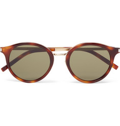 Saint Laurent Round-Frame Acetate and Gold-Tone Sunglasses