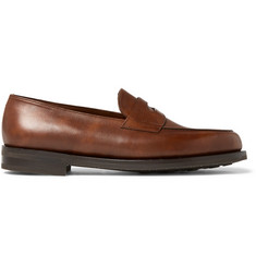 John Lobb Lopez Pebble-Grain Leather Penny Loafers