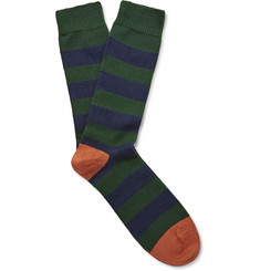 The Workers Club - Striped Cotton-Blend Socks