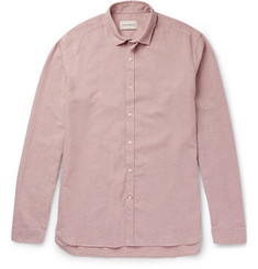 Oliver Spencer Clerkenwell Tab-Collar Mélange Cotton and Linen-Blend Shirt