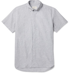 Oliver Spencer Aston Button-Down Collar Cotton and Linen-Blend Shirt