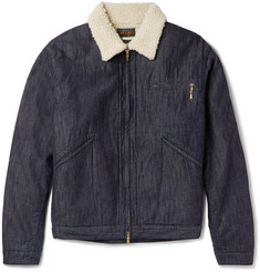 Beams Plus Slim-Fit Faux Shearling-Lined Denim Jacket