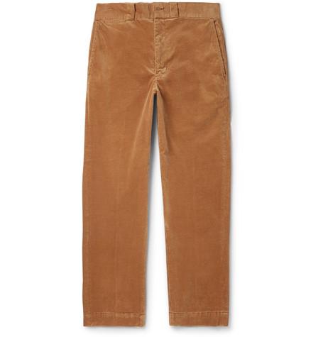 Slim-Fit Cotton-Blend Corduroy Trousers, Brown