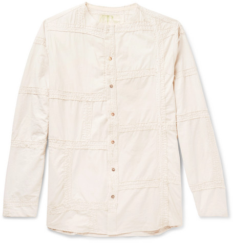 BY WALID COLLARLESS EMBROIDERED WASHED-COTTON SHIRT
