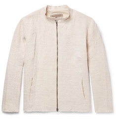 By Walid Collarless Raw-Edged Linen Jacket