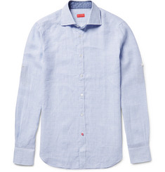 Isaia - Slim-Fit Checked Linen Shirt