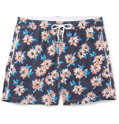 Isaia Slim-Fit Mid-Length Floral-Print Swim Shorts
