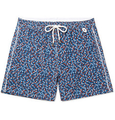 Isaia Slim-Fit Mid-Length Polka-Dot Swim Shorts