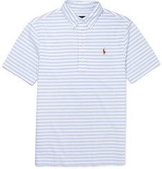 Polo Ralph Lauren Slim-Fit Button-Down Collar Striped Cotton-Piqué Polo Shirt