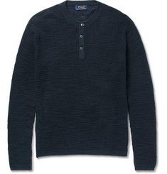 Polo Ralph Lauren Waffle-Knit Cotton and Linen-Blend Henley Sweater