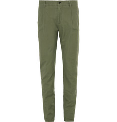 Tod's Green Slim-Fit Cotton and Linen-Blend Suit Trousers