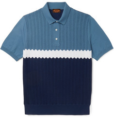 Tod's Colour-Block Knitted Cotton Polo Shirt
