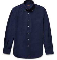 MP Massimo Piombo Button-Down Collar Linen-Blend Shirt
