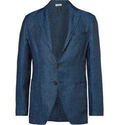 Eidos - Blue Unstructured Herringbone Linen Blazer