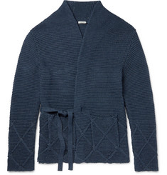 Eidos Ribbed-Knit Cotton Wrap Cardigan