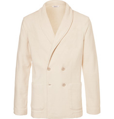 Eidos White Shawl-Collar Double-Breasted Knitted Cotton Blazer