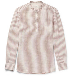 Eidos Grandad-Collar Striped Linen Shirt
