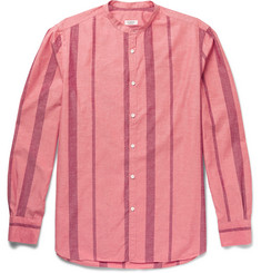 Eidos - Slim-Fit Grandad-Collar Striped Cotton and Silk-Blend Shirt