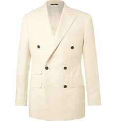 Thom Sweeney - Cream Slim-Fit Double-Breasted Slub Herringbone Wool Suit Jacket