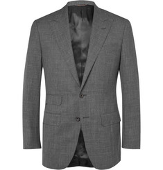 Thom Sweeney Grey Wool, Silk and Linen-Blend Sharkskin Suit Jacket