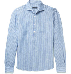 Thom Sweeney Cutaway-Collar Striped Linen Shirt