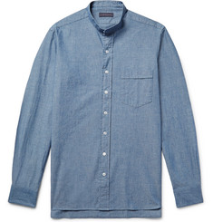 Thom Sweeney Grandad-Collar Cotton-Chambray Shirt