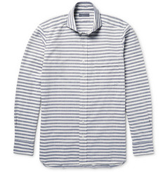 Thom Sweeney Slim-Fit Striped Slub Cotton Shirt