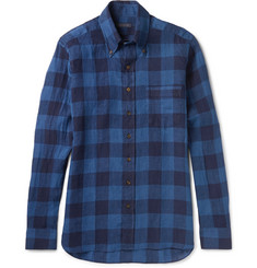 Thom Sweeney Slim-Fit Button-Down Collar Checked Linen Shirt