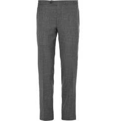 Thom Sweeney Grey Wool, Silk and Linen-Blend Sharkskin Suit Trousers