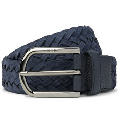 Tod's 3.5cm Leather-Trimmed Woven Suede Belt