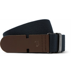 Tod's - 3cm Blue Leather-Trimmed Canvas Belt