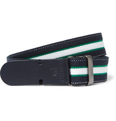 Tod's - 3cm Navy Leather-Trimmed Striped Canvas Belt