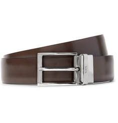 Tod's - 3cm Brown and Blue Reversible Leather Belt