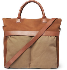 WANT LES ESSENTIELS - O'Hare Leather-Trimmed Suede and Organic Cotton-Canvas Tote Bag