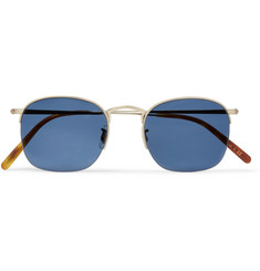 Oliver Peoples Rickman Square-Frame Brushed Pale Gold-Tone Sunglasses