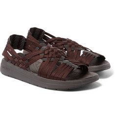 Malibu - Canyon Faux Leather-Trimmed Woven Webbing Sandals