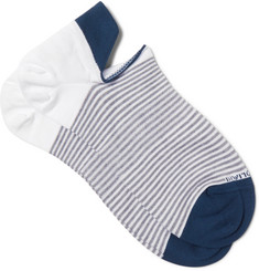 Marcoliani Striped Cotton-Blend No-Show Socks