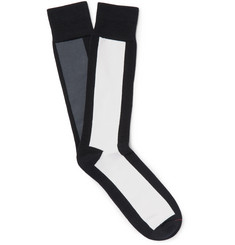 Mr. Gray - Colour-Block Cotton-Blend Socks