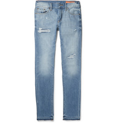Jean Shop - Jim Skinny-Fit Distressed Selvedge Denim Jeans
