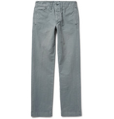 RRL Officer's Slim-Fit Garment-Dyed Herringbone Cotton Trousers