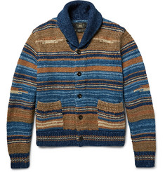 RRL Shawl-Collar Striped Cotton-Blend Cardigan