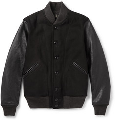 RRL Sonny Leather-Panelled Wool-Blend Bomber Jacket