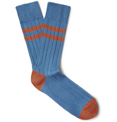 The Workers Club Varsity-Striped Combed Cotton-Blend Socks